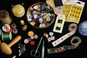 sewing, buttons, sew